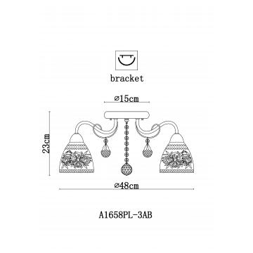 Схема с размерами Arte Lamp A1658PL-3AB