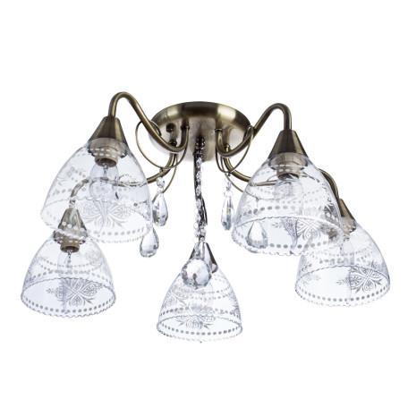 Потолочная люстра Arte Lamp Rugiada A1658PL-5AB, 5xE14x60W, бронза, прозрачный, металл, стекло, хрусталь