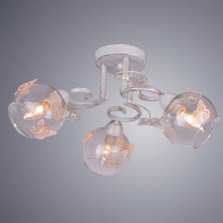 Потолочная люстра Arte Lamp Alessandra A5004PL-3WG, 3xE14x40W, белый с золотой патиной, прозрачный, металл, стекло