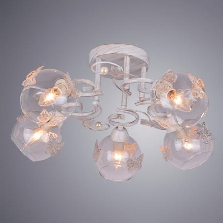 Потолочная люстра Arte Lamp Alessandra A5004PL-5WG, 5xE14x40W, белый с золотой патиной, прозрачный, металл, стекло
