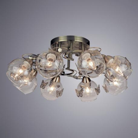 Потолочная люстра Arte Lamp Alessandra A5004PL-8AB, 8xE14x40W, бронза, прозрачный, металл, стекло