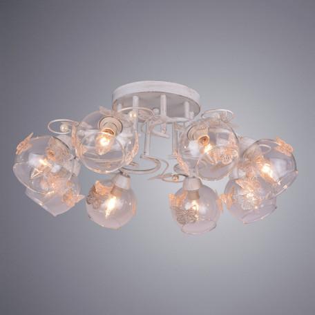 Потолочная люстра Arte Lamp Alessandra A5004PL-8WG, 8xE14x40W, белый с золотой патиной, прозрачный, металл, стекло