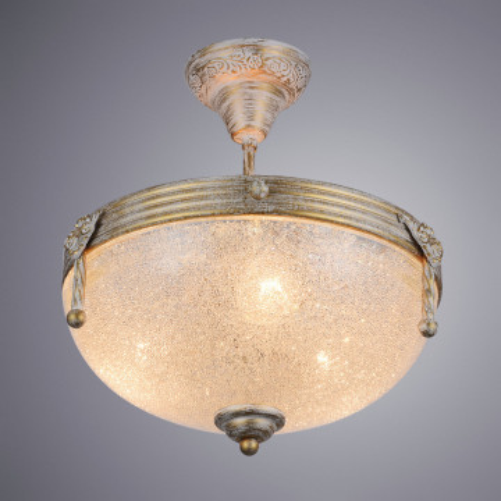 Потолочная люстра Arte Lamp Fedelta A5861PL-3WG, 3xE27x60W, белый с золотой патиной, металл, стекло