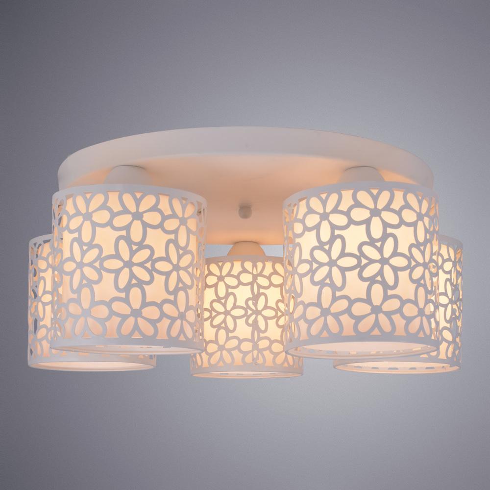 Потолочная люстра Arte Lamp Traforato A8349PL-5WH, 5xE14x40W, белый, металл, металл со стеклом - фото 2