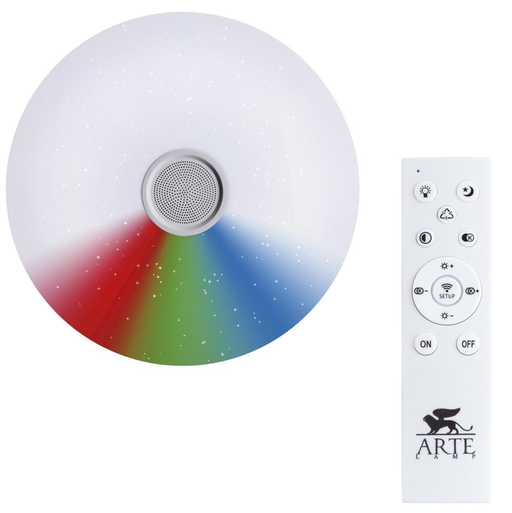 Музыкальный потолочный светодиодный светильник Arte Lamp Suono A5524PL-1WH, IP44, белый, металл, пластик - фото 1