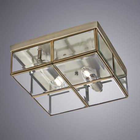 Потолочный светильник Arte Lamp Scacchi A6769PL-2AB, 2xE14x40W, бронза, прозрачный, металл, стекло