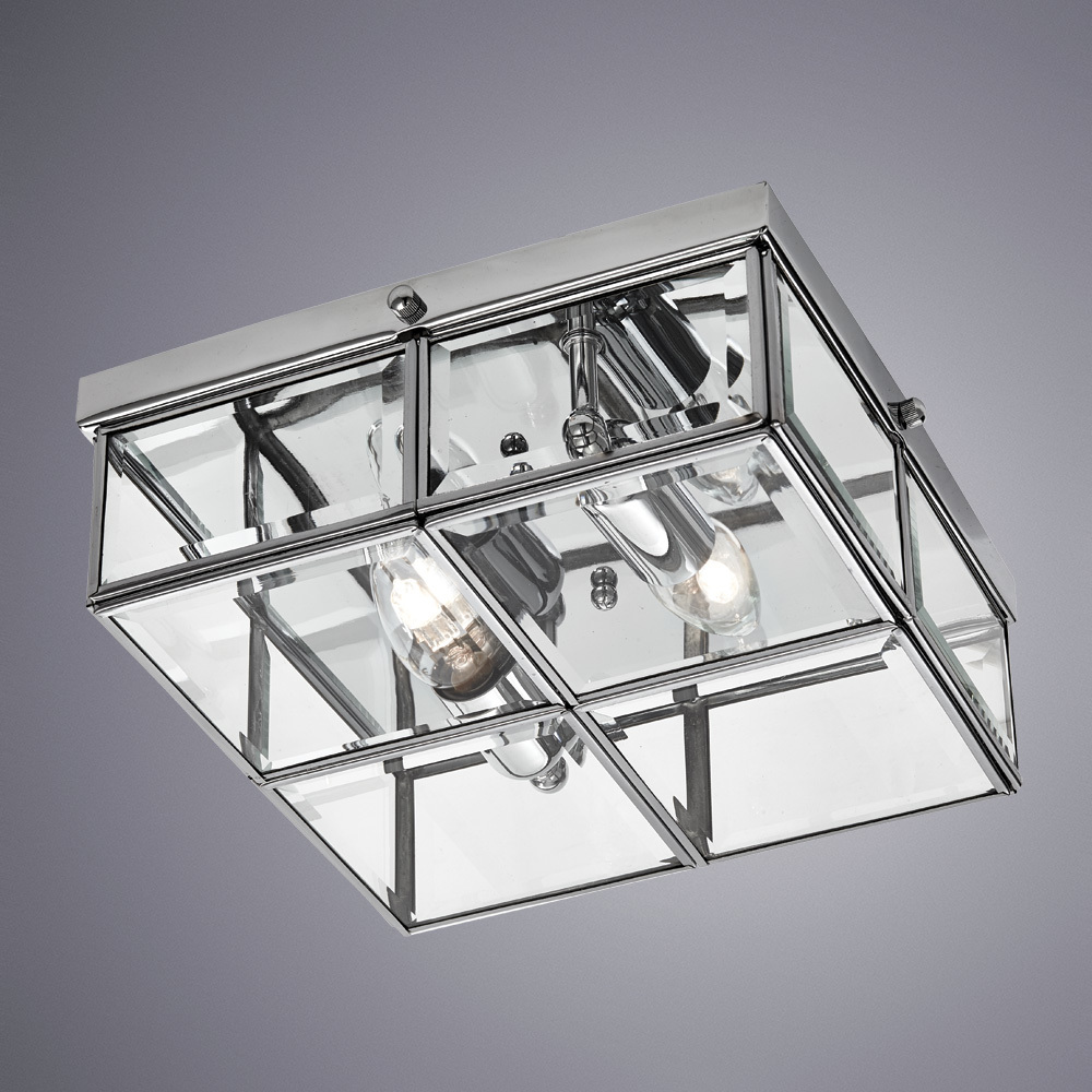 Потолочный светильник Arte Lamp Scacchi A6769PL-2CC, 2xE14x40W, хром, прозрачный, металл, стекло - фото 1