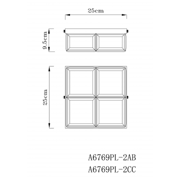 Схема с размерами Arte Lamp A6769PL-2CC