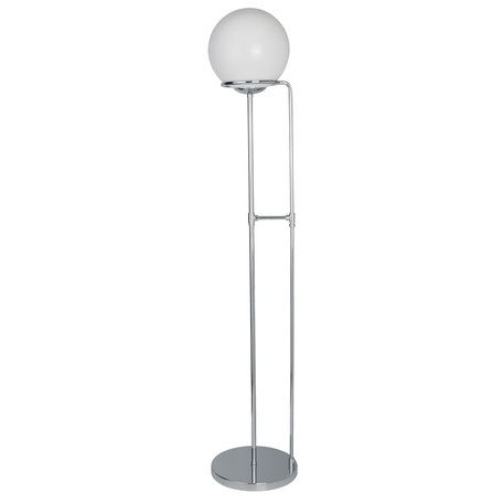 Торшер Arte Lamp Bergamo A2990PN-1CC, 1xE27x60W, хром, белый, металл, стекло