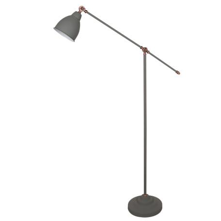 Торшер Arte Lamp Braccio A2054PN-1GY, 1xE27x60W, серый с медью, серый, металл