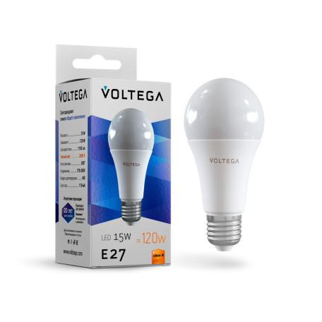 Светодиодная лампа Voltega Simple 7156 груша E27 15W, 2800K (теплый) CRI80 170-265V, гарантия 2 года