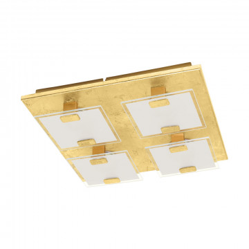 Потолочная светодиодная люстра Eglo Vicaro 1 97728, LED 10W 3000K 720lm, матовое золото, белый, металл, стекло