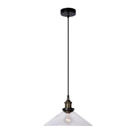 Подвесной светильник Lucide Doris 15368/30/60, 1xE27x60W, черный, бронза, прозрачный, металл, стекло