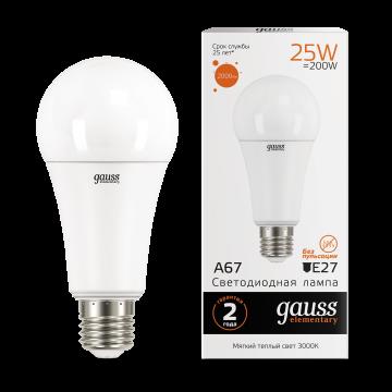 Светодиодная лампа Gauss Elementary 73215 груша E27 25W, 3000K (теплый) CRI>80 180-240V, гарантия 2 года