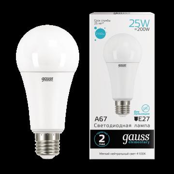 Светодиодная лампа Gauss Elementary 73225 груша E27 25W, 4100K (холодный) CRI>80 180-240V, гарантия 2 года