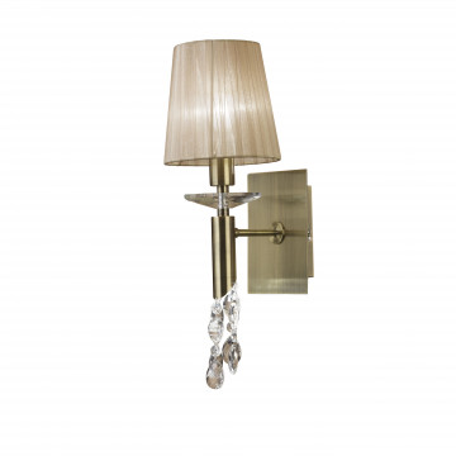 Бра Mantra Tiffany 3884, бронза, бежевый, прозрачный, металл, текстиль, хрусталь