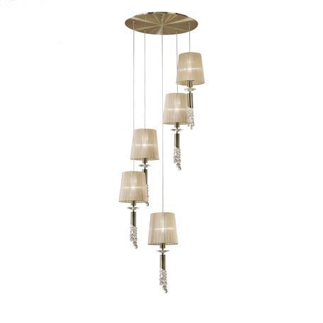Люстра-каскад Mantra Tiffany 3877, бронза, бежевый, прозрачный, металл, текстиль, хрусталь