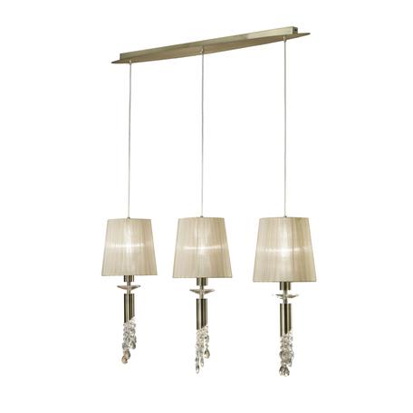 Подвесной светильник Mantra Tiffany 3875, бронза, бежевый, прозрачный, металл, текстиль, хрусталь