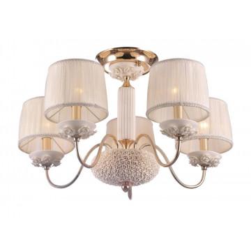Потолочная люстра Crystal Lux ADAGIO PL5 1020/105, 5xE14x60W, белый, золото, керамика, текстиль