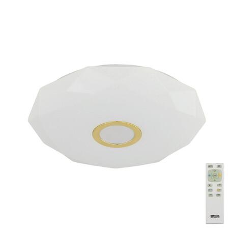 Потолочный светодиодный светильник с пультом ДУ Citilux Диамант CL71342R, IP44, LED 40W, 3000-4500K/RGB, белый, золото, металл, пластик