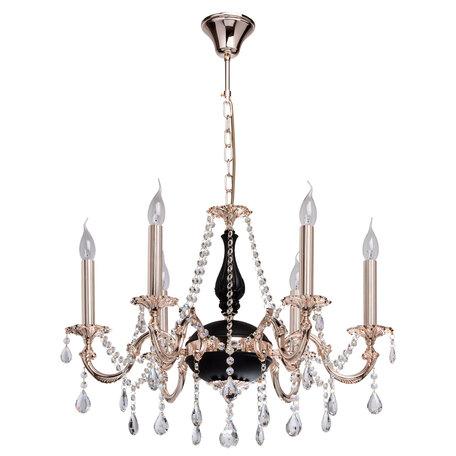 Подвесная люстра MW-Light Селена 482014406 SALE, 6xE14x40W, золото, черный, прозрачный, металл, хрусталь