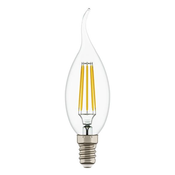 Филаментная светодиодная лампа Lightstar LED 940664 свеча на ветру E14 4W, 4000K (дневной) 220V, гарантия 1 год - фото 1