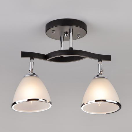 Потолочный светильник с регулировкой направления света Eurosvet Ontario 9612/2 хром/венге, 2xE27x40W, венге, хром, белый, дерево, стекло