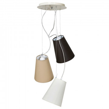 Люстра-каскад Nowodvorski Retto 5380, 3xE27x60W, хром, бежевый, белый, черный, металл, текстиль