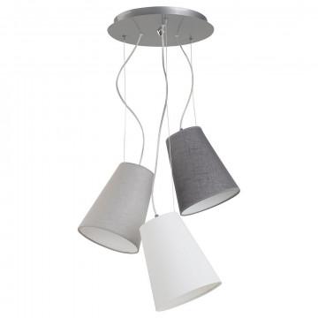 Люстра-каскад Nowodvorski Retto 6820, 3xE27x60W, хром, белый, серый, металл, текстиль