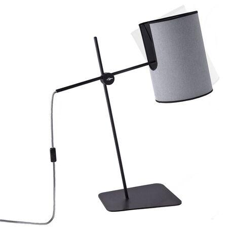 Настольная лампа Nowodvorski Zelda 6012, 1xE27x60W, черный, серый, металл, текстиль - миниатюра 1