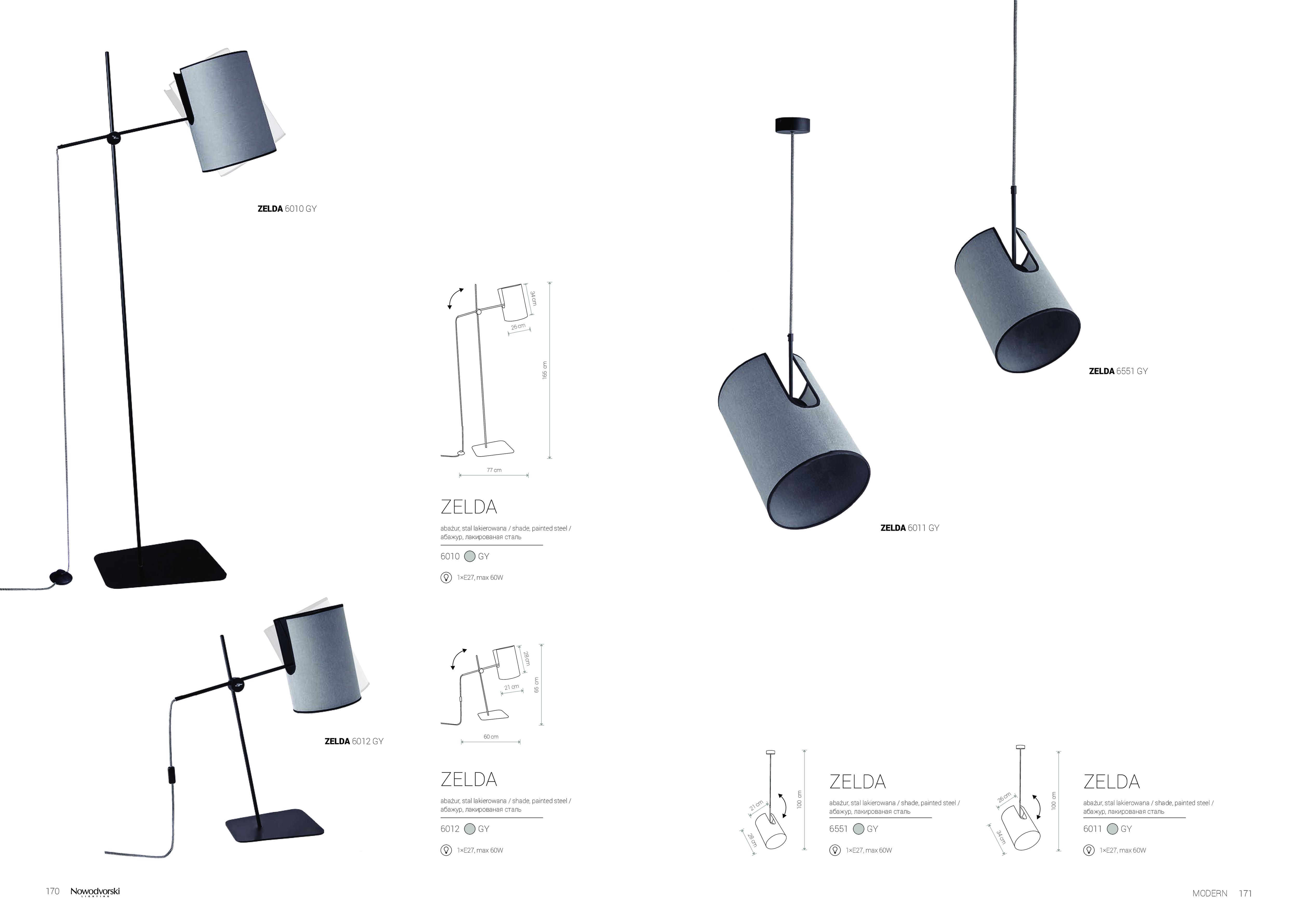Настольная лампа Nowodvorski Zelda 6012, 1xE27x60W, черный, серый, металл, текстиль - фото 2