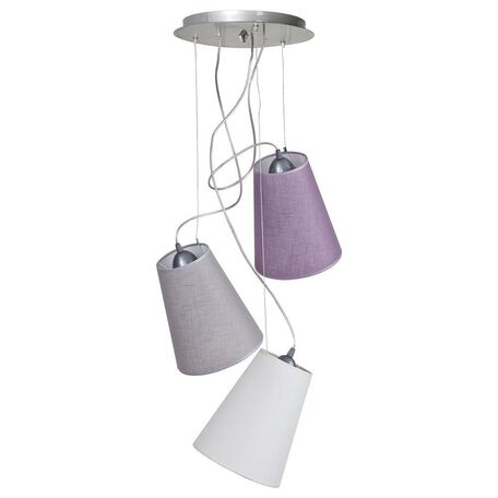 Люстра-каскад Nowodvorski Retto 5197, 3xE27x60W, хром, белый, серый, фиолетовый, металл, текстиль