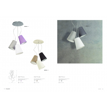 Люстра-каскад Nowodvorski Retto 5197, 3xE27x60W, хром, белый, серый, фиолетовый, металл, текстиль - миниатюра 2
