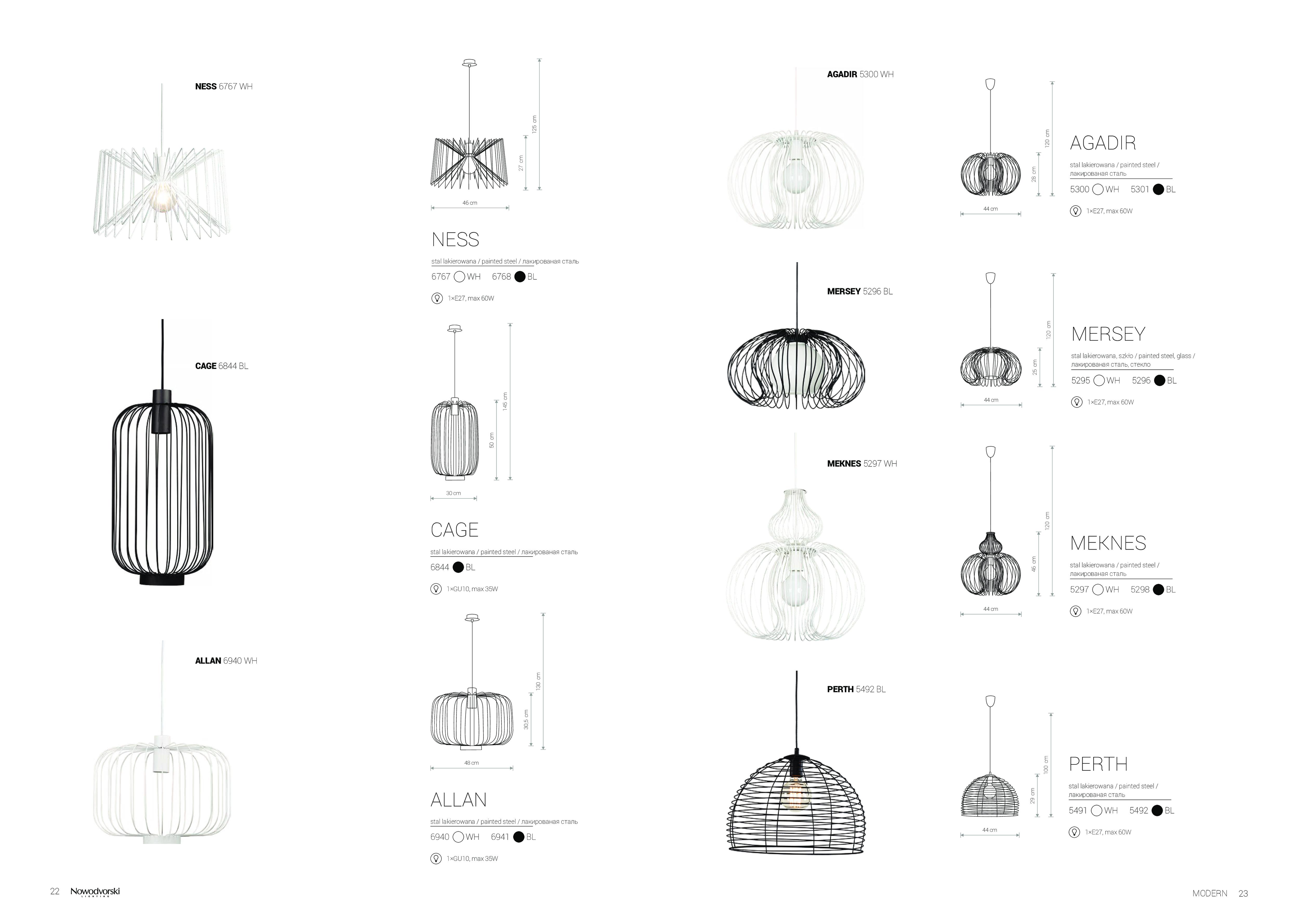 Подвесной светильник Nowodvorski Agadir 5301, 1xE27x60W, черный, металл - фото 2