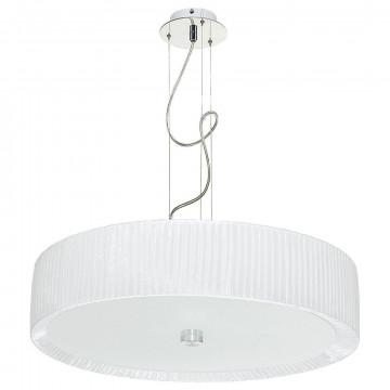 Подвесной светильник Nowodvorski Alehandro 5345, 3xE27x60W, хром, белый, металл, стекло, текстиль