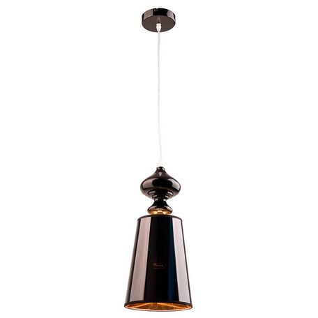 Подвесной светильник Nowodvorski Alaska Black 5756, 1xE27x60W, черный, золото, металл, пластик
