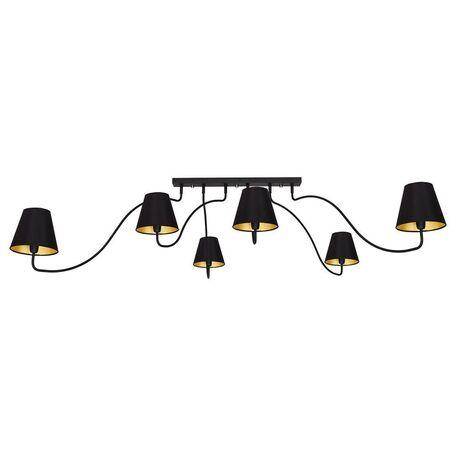 Потолочная люстра Nowodvorski Swivel 6560, 6xE14x40W, черный, золото, металл, текстиль