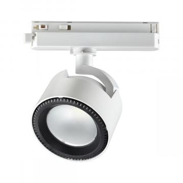 Светодиодный светильник с регулировкой направления света для шинной системы Novotech Pirum 358432, LED 20W 4000K 1500lm, белый, черно-белый, металл