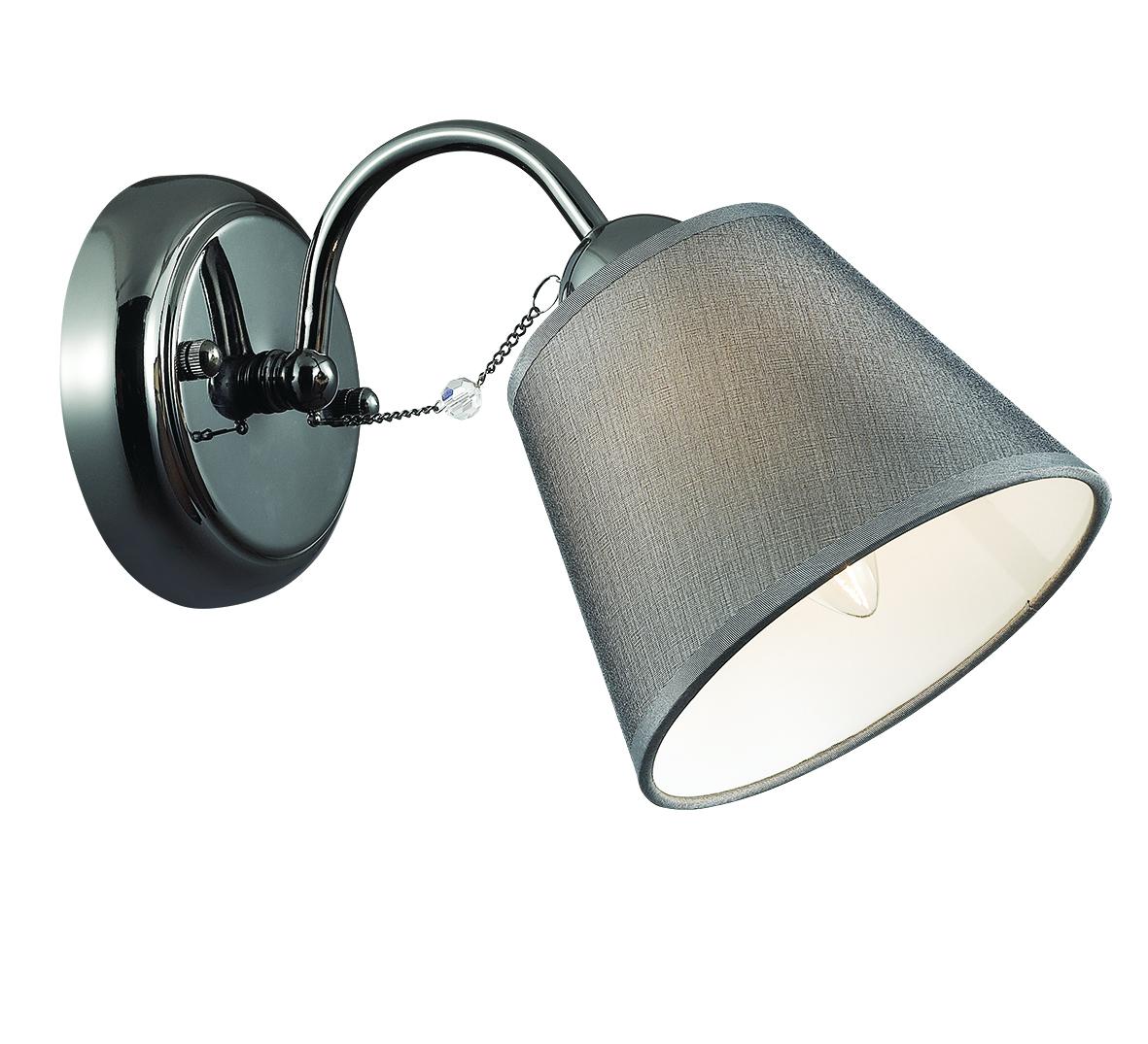 Бра Lumion Porta 2974/1W, 1xE14x40W, черный хром, серый, прозрачный, хром, металл, текстиль, хрусталь - фото 1