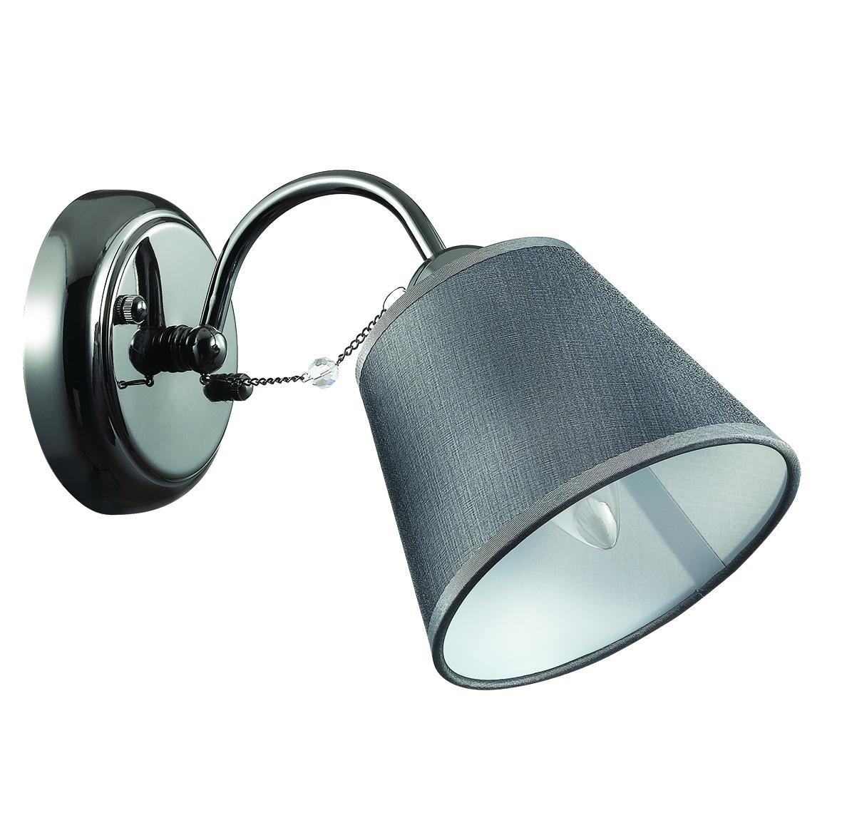 Бра Lumion Porta 2974/1W, 1xE14x40W, черный хром, серый, прозрачный, хром, металл, текстиль, хрусталь - фото 2