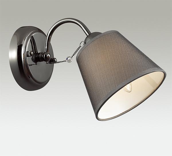 Бра Lumion Porta 2974/1W, 1xE14x40W, черный хром, серый, прозрачный, хром, металл, текстиль, хрусталь - фото 3