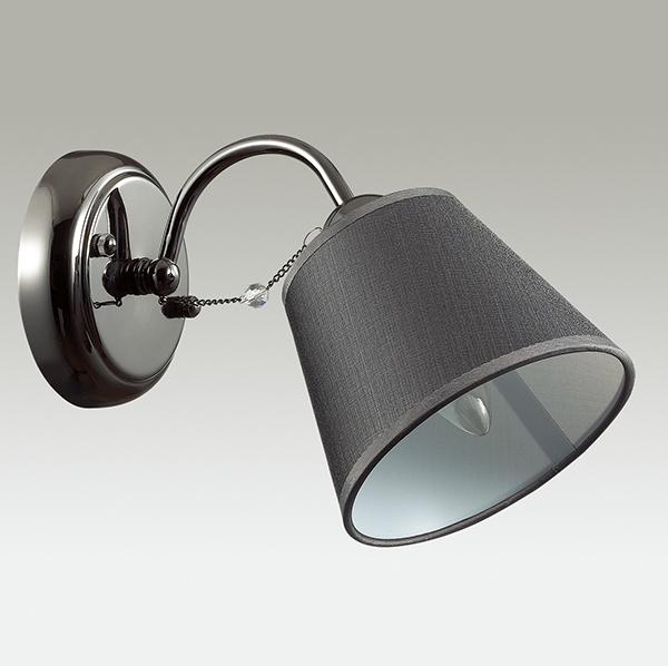 Бра Lumion Porta 2974/1W, 1xE14x40W, черный хром, серый, прозрачный, хром, металл, текстиль, хрусталь - фото 4