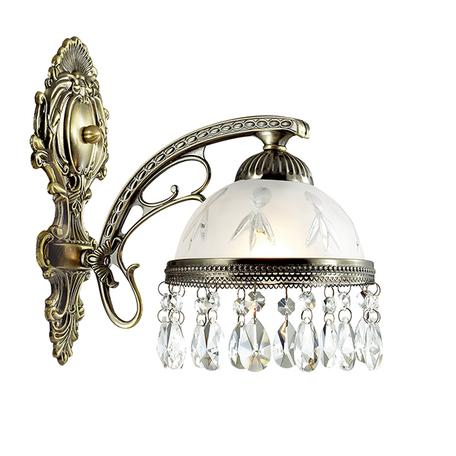 Бра Lumion Classi Avifa 2989/1W, 1xE27x60W, бронза, белый, прозрачный, металл, стекло, хрусталь
