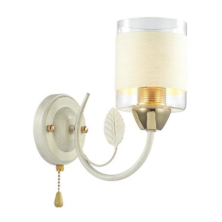 Бра Lumion Filla 3029/1W, 1xE27x60W, белый с золотой патиной, белый, металл, стекло, текстиль