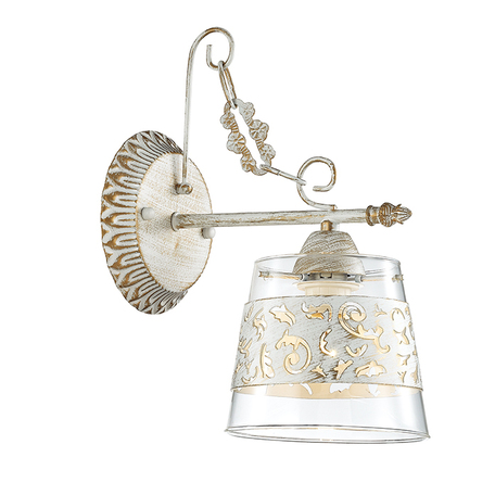 Бра Lumion Corsaro 3052/1W, 1xE14x40W, белый с золотой патиной, прозрачный, металл, стекло - миниатюра 1