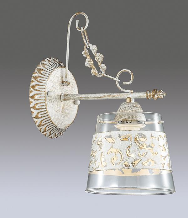 Бра Lumion Corsaro 3052/1W, 1xE14x40W, белый с золотой патиной, прозрачный, металл, стекло - фото 3