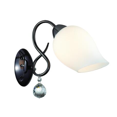 Бра Lumion Comfi Rondina 3076/1W, 1xE27x60W, черный, белый, прозрачный, металл, стекло, хрусталь