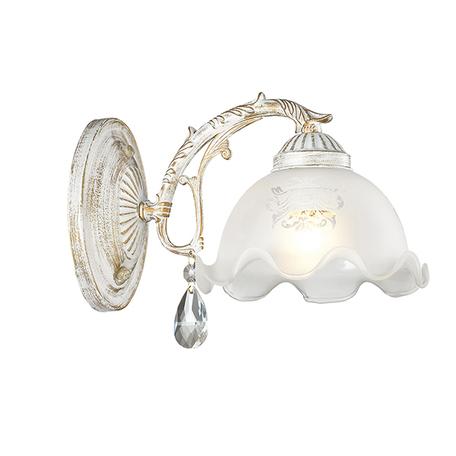 Бра Lumion Comfi Casetta 3126/1W, 1xE27x60W, белый с золотой патиной, белый, прозрачный, металл, стекло, хрусталь