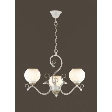 Подвесная люстра Lumion Efetta 2855/3, 3xE27x60W, белый с золотой патиной, белый, металл, стекло - миниатюра 3