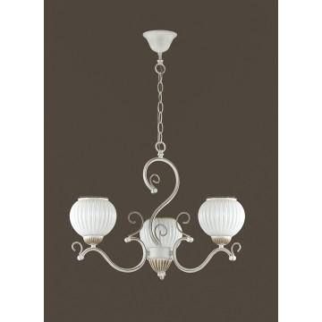 Подвесная люстра Lumion Efetta 2855/3, 3xE27x60W, белый с золотой патиной, белый, металл, стекло - миниатюра 4